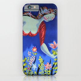 Le bouquet; lady in red picking wildflowers floral masterpiece painting by Marc Saint-Saëns iPhone Case