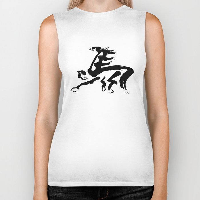Zen brush horse black and white Biker Tank