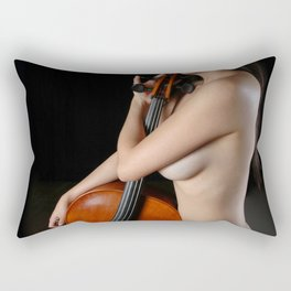 0205-JC Nude Cellist with Her Cello and Bow Naked Young Woman Musician Art Sexy Erotic Sweet Sensual Rectangular Pillow