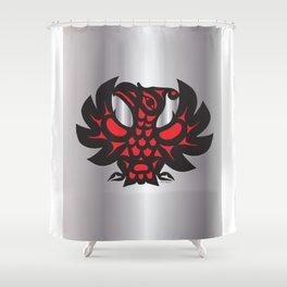 Heiltsuk Thunderbird Black & Red on Silver          Shower Curtain