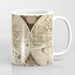 Antique world map with sail ships, sepia Coffee Mug