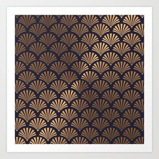 Art Deco Shell Pattern Art Print