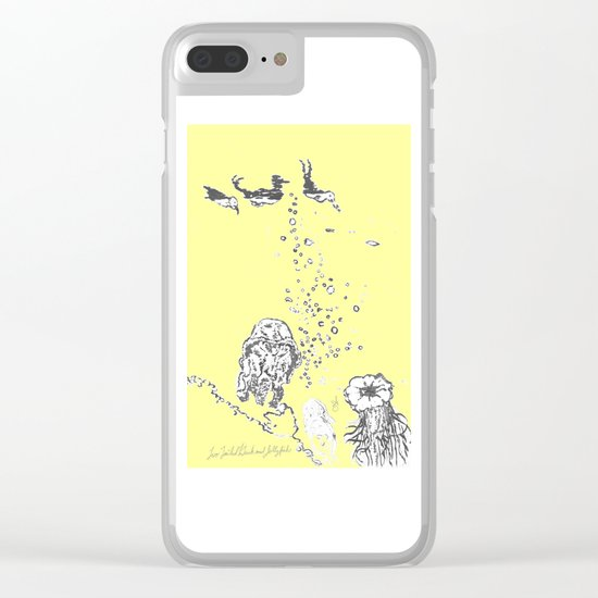 Two Tailed Duck and Jellyfish Baby Yellow Clear iPhone Case