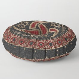 Odin's Horn Black and Red Leather and gold Floor Pillow