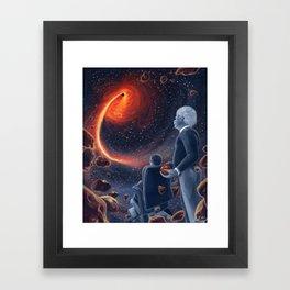 Ghosts in the Sky: Stephen Hawking and Albert Einstein Framed Art Print
