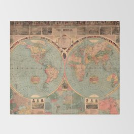 Vintage Map of The World (1883) Throw Blanket
