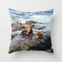 La Jolla Babes, young California sea lions Throw Pillow