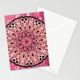 Boho Coral Mandala Lace Stationery Cards