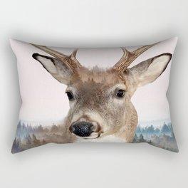 Whitetail Deer Double Exposure Rectangular Pillow