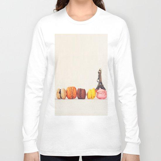 Paris, macaron and the eiffel - Vintage version Long Sleeve T-shirt