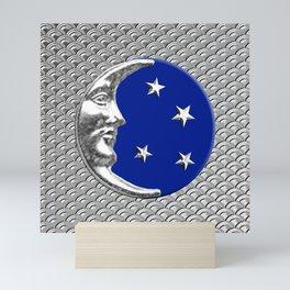 Art Deco Moon and stars - Cobalt Blue and Silver Mini Art Print