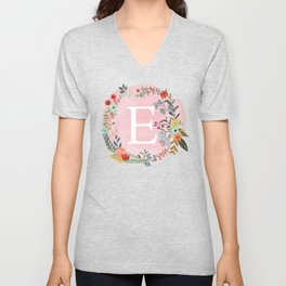 Flower Wreath with Personalized Monogram Initial Letter E on Pink Watercolor Paper Texture Artwork Unisex V-Neck