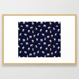 Indian Baby Elephants in Navy Framed Art Print