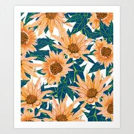 Blush Sunflowers Art Print