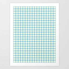 Cream Yellow and Baby Blue Diamonds Art Print