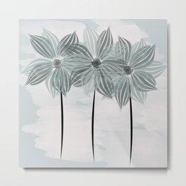 Mint Blue Watercolor Spring Flowers Metal Print