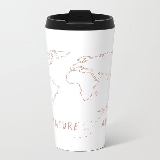 Adventure Map in Rose Gold Metal Travel Mug
