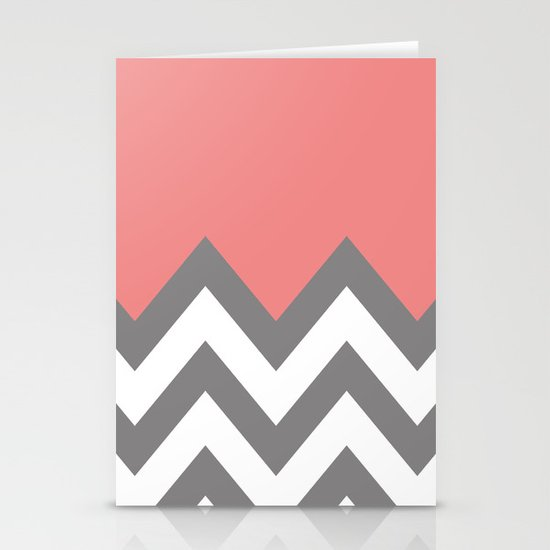 CORAL COLORBLOCK CHEVRON Stationery Cards