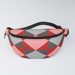 Red Riding Hood Picnic Blanket - Red Diamond Pixel Pattern Fanny Pack
