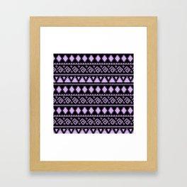 Lavender black tribal geometrical abstract pattern Framed Art Print