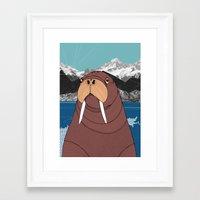 walrus Framed Art Prints featuring Walrus by Diana Hope