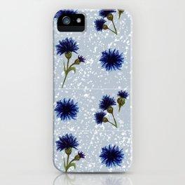 Blue cornflower watercolor pattern iPhone Case