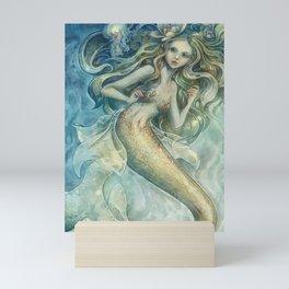 mermaid with Flowers in her hair Mini Art Print