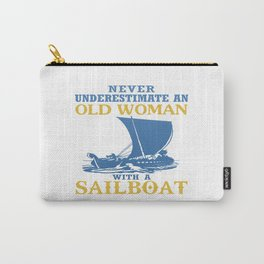 Old Woman With A Sailboat Carry-All Pouch