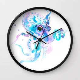 Turquoise Violet Octopus Wall Clock