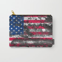 American Flag Painted on Wood Carry-All Pouch