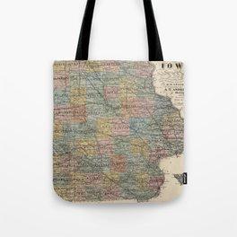Vintage Map of Iowa (1875) Tote Bag
