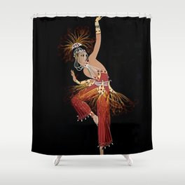 """""""Firebird Dancer"""" Art Deco Image Shower Curtain"""