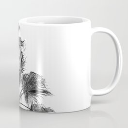B&W Palm Tree Print | Black and White Summer Sky Beach Surfing Photography Art Coffee Mug