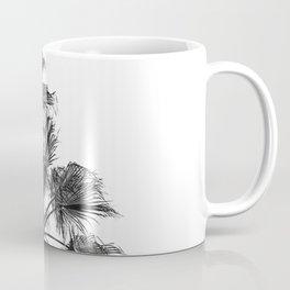B&W Palm Tree Print | Black and White Summer Sky Beach Surfing Photography Art Coffee Mug