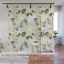 Modern yellow ivory green hand painted roses floral Wall Mural