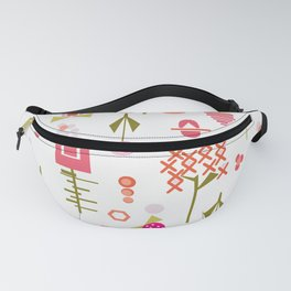 Sweet mod florals - delicate art deco inspired flowers - geometric flowers - pinks Fanny Pack
