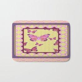 Pink Butterflies Puce-cream Asian Pattern Art Bath Mat