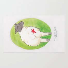 Haruki Murakami's A Wild Sheep Chase // Illustration of a Sheep with a Red Star in Watercolour Rug