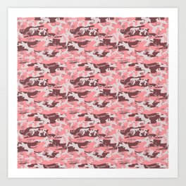 Military Camouflage Pattern - Pink Brown Gray Art Print