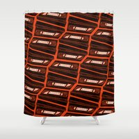 return Shower Curtains featuring Return by Gimetzco's Damaged Goods