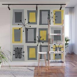 Mid Century Modern Art 'Wonky Doors' Yellow Gray Wall Mural