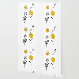 Wildflowers Circular Gold Ink Illustration Wallpaper
