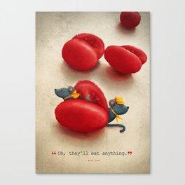 Mice and Tomatos Canvas Print
