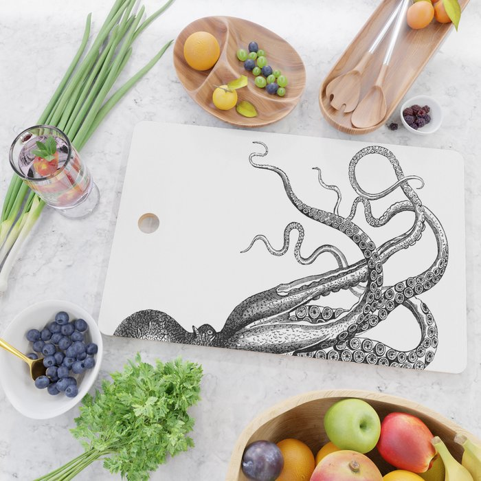 Half Octopus (Right Side) | Black and White Cutting Board