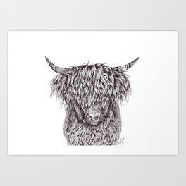Zentangle Highland Cow Art Print
