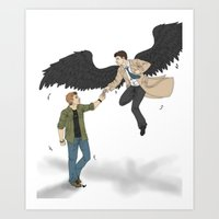 destiel Art Prints featuring Destiel by westofnowhere
