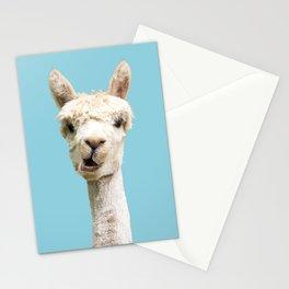 Cute white alpaca portrait on blue sky background Stationery Cards