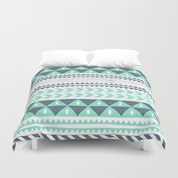 winter Duvet Covers featuring Winter Stripe by Alice Rebecca Potter