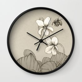 Wild Violets and Honey Bee Wall Clock