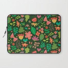 Garden Scatter - Warm Spring Colours on Dark Forest Green (floral pattern) Laptop Sleeve